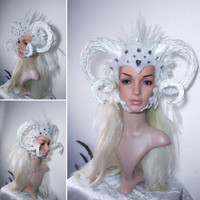 White silver horned  Winter ice faun satyr horns queen King fantasy headdress headpiece carnival halloween photo accessory
