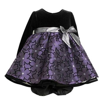 Bonnie Baby Baby-Girls Infant Black Purple Flocked Flowers Silver Bow Dress, 12 Months