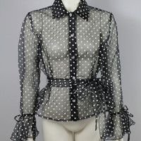 SALE - 90s - See Through - Black & White Polka Dot - Rhinestone Button Up - Collar - Belled Ruffle Cuff - Belted Cinched Waist - Blouse Top