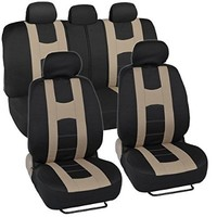 """""""Rome Sport"""" Seat Covers for Car SUV - Sporty Racing Style Stripes Black & Beige"""
