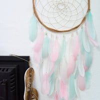 Mint and Pink Dreamcatcher - Large Dreamcatcher Mint Green and Pink, Boho Wedding Decor, Boho Weddings, Mint Wedding, Mint Green Wedding,