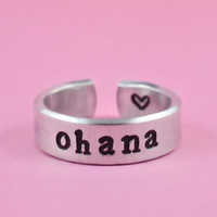 ohana - Hand Stamped Ring, Pure Aluminum, Shiny, Skinny Ring, Family Ring, Newsprint Font