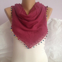 Dark Red Scarf - Red Pompom  Lace Scarf - Square Soft Cotton Scarf - Scarf With Colorful Edges - Christmas Gift - Scarf