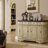 Ivory and Brown Painted Credenza
