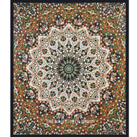 Black Multicolored Psychedelic Star Mandala Tapestry Wall Hanging Bedspread on RoyalFurnish.com