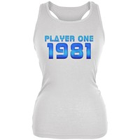 1981 Player One Birthday Juniors Soft Tank Top