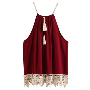 Red Wine High Neck Lace Trim Halter Summer Blouse