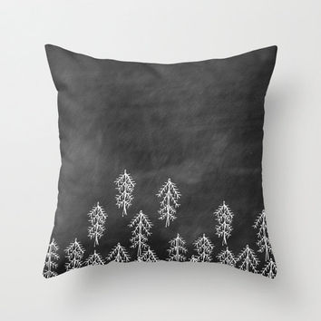 Illustrated Forest and Woodland Throw Pillow Cover Decorative Pillow Home Decor Original Illustration Accent Pillow Black & White Home Decor