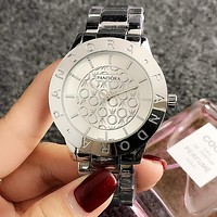 Pandora Trending Woman Men Stylish Quartz Movement Wristwatch Watch Silvery I-H-JH