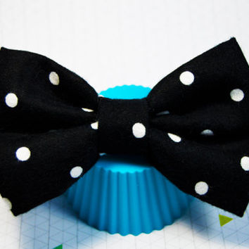 Large Hair Bow, Black and White Polka Dot Bow, Dotty Hair Bow, Cute Hairbow, Hair Accessory,Fabric Hair Bow, Alligator Clip Bow, Baby, Adult