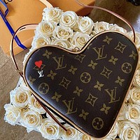 Louis Vuitton LV Popular Women Leather Satchel Crossbody Handbag Shoulder Bag Heart Shaped Bag