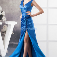 free shipping 2016 new design hot formal v-neck cap sleeve custom size/color beading crystal real photo long Homecoming Dresses
