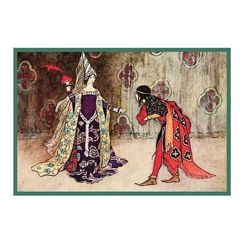 The Invisible Prince and the Queen by Warwick Goble Counted Cross Stitch Pattern