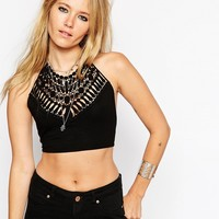 ASOS Crop Top With Halter Neck And Cotton Lace Trim