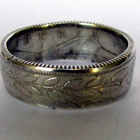 1961 Liberia 25 Cent Coin Ring 90% Silver