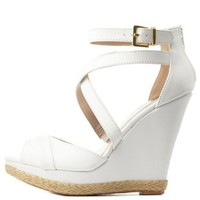 White Strappy Peep Toe Platform Wedges by Charlotte Russe