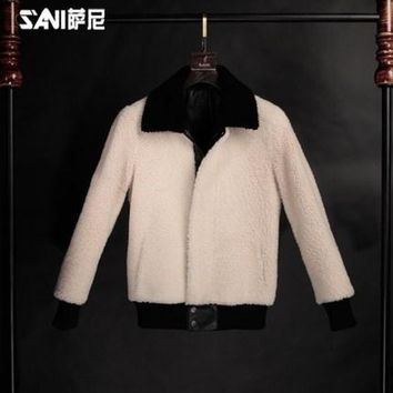 Short design shearling coats for men thickening outerwear genuine leather jacket mens turn-down collar sheepskin fur overcoat