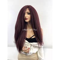 Burgundy Red Lace Front Wig - Chaka 121732