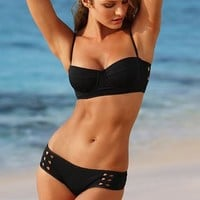 2013 new arrival Sexy Cut Out Bandeau Bikini Paded Push Up Swimwear Swimsuit SML