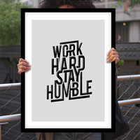"""Gift Ideas for Him Motivational Poster """"Work Hard Stay Humble"""" Typography Poster Birthday Gift Graduation Gift Xmas Gift Art Print"""