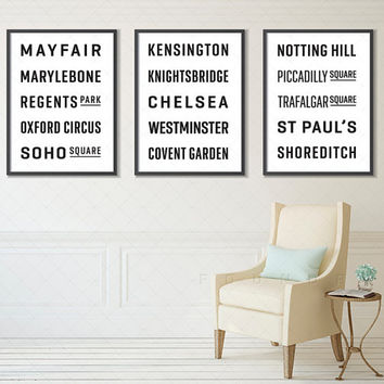 LONDON, ENGLAND Subway Sign Prints, Bus Blinds (Collection Set of 3), Underground Posters, Wall Art, Transport Art, Transit Design, Decor
