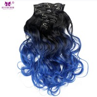 """Neverland 20"""" 50CM 7pcs/set Synthetic Wavy Hair 16Clips Black Blue Ombre Clip In"""