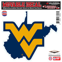 """West Virginia Mountaineers 6"""" x 6"""" Repositionable State Shape Decal"""