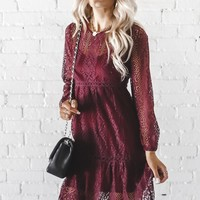 Look At Her Now Wine Lace Dress