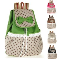 Cute Canvas Lace Bowknot Backpack