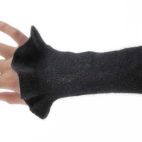 Felted wrist warmers - felted gloves - arm warmers - black