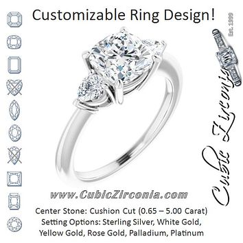 Cubic Zirconia Engagement Ring- The Zhata (Customizable 3-stone Cushion Style with Pear Accents)