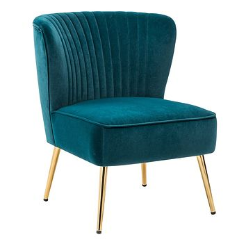 Velvet Accent Chair in TEAL