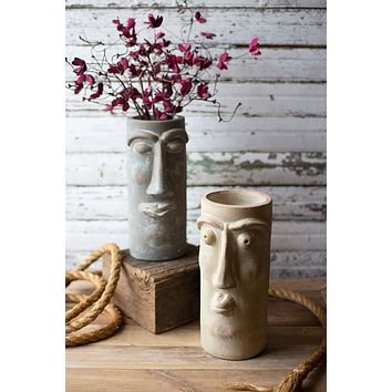 Set Of Two Clay Face Vases