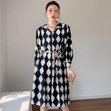 Long Sleeve Dress For Women Lace Up Knee Length Plaid Modest Collar Dress Black And White