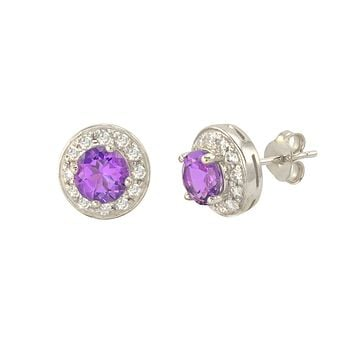 Amethyst Gemstone Stud Earrings 925 Sterling Silver Round Gem CZ Accent