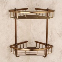 Bathroom basket shelf antique aluminum double layerbathroom corner shelf bathroom holder showeroom basket bathroom accessories