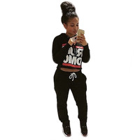 "Black ""RUN DMC"" Sweatshirt Drawstring Jogger Pants Set"