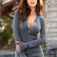 Charcoal Grey (CHGY) Henley Sweater