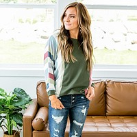 NEW! Harmony Hunter Green 3/4 Sleeve Top with Striped Sleeves