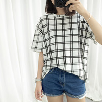 Black and White Plaid Stripe Shirt
