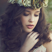 """Greta""Flower Crown-photoprop-halo-flower crown-Hair dress"