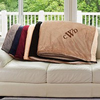 Personalized Embroidered Monogram Sherpa Blanket