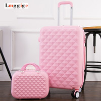 """20""""24""""28""""inch Diamond design Luggage Set, Women's Lightweight Wearable Suitcase,Colorful ABS Travel Box,Rolling Trolley Hardcase"""