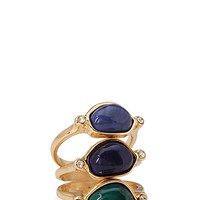 FOREVER 21 Geo Faux Gemstone Ring Set Blue/Green