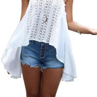 Lace Crochet Tops Hollow Out Spaghetti Tank Top