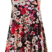Black & Coral Floral Rayon Jersey Sundress