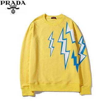 PRADA 2019 new front and rear lightning printing logo round neck sweater Yellow