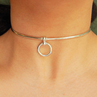 Mini Solid 925 Sterling Silver Neck Cuff Neckwire with sterling O ring Locking BDSM Slave Bondage Day Collar and Sterling Silver Heart Lock