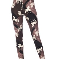 Youth Purple Horse Print Leggings-