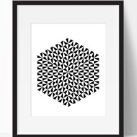 Hexagon Black and White, Wall Art (Frame NOT Included)